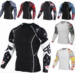 Wholesale Tight Gym Clothes - Men's sports tights fashionable flower arm movement speed dry clothes long sleeve large size gym suit.