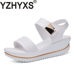 Wholesale Sexy Shoes For Ladies - Sexy Women Sandals Platform Wedges High Heel Brand Quality Genuine Leather Women's Fashion Summer Shoes For Youth Ladies