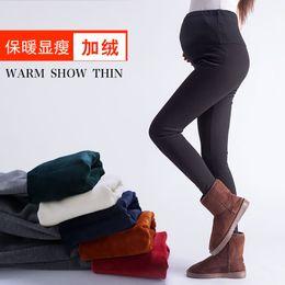 fd48edfbd Pengpious mujeres embarazadas de invierno de cintura alta pantalones  abdominales de color sólido mantienen la moda de maternidad polainas  pantalones de ...