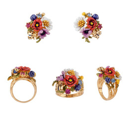 Wholesale France Jewelry - Amybaby 2017 France Pairs Les Nereides Ladybird Spring Flowers Luxury Womens Stud Earrings Rings Jewelry Sets