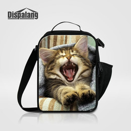 Wholesale Picnic Coolers - Thermal Lunch Bag For Children Women Adults Food Lunch Picnic Cooler Bags Cute Animal Cat Playing Insulated Lunch Bags For Students School