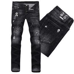 cuir en détresse Promotion Noir Ajustement Fit Denim Jeans Hommes Mode Design Slim Fit Distressed Cuir Patches Coton Jean Pantalon Homme