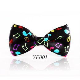 Wholesale Musical Prints - Fashion Colorful Musical Note Bowtie Black Music Pattern Bow Tie For Men Women Novelty Cravat Leisure Cool Brand