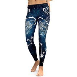 Leggings de ginásio padrão on-line-Mulheres Padrão de Peixe Impressão Digital Sports Yoga Leggings Sexy Confortável Aptidão Correndo Ginásio Estiramento Calças Esportivas Calças