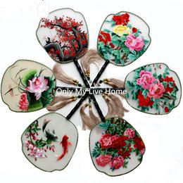Wholesale fine folk - Fine Vintage Handle Gift Fan Traditional Craft Chinese Fan Painting Full Handmade Double Embroidery Mulberry Silk Hand Fan Decoration