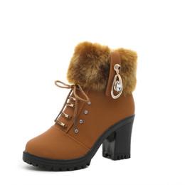 Wholesale Leather Platform Zip Ankle Boots - szsgcn84 fall Fashion Women Boots PU Leather Round Toe Ankle Boots Sexy Lace Ladies 7cm High Heels 2cm Platform Shoes Woman zip