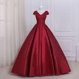 vestidos de quinceañera Rebajas Elegante vino rojo con cuello en V vestido de bola Vestidos de quinceañera Satén con cordones Volver Dulce 16 Vestidos de fiesta Vestidos de quinceañera Vestidos de fiesta de cumpleaños