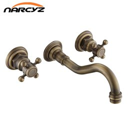 Wholesale Antique Wall Faucets - Wholesale and Retail Antique Brass Bathtub Mixer Taps 3 pcs Basin Dual Handles Hot and Cold Wall Mounted Basin Faucet XR-GZ-8208