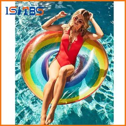 Wholesale pe bar - 60 70 80 90 120cm Giant Rainbow Watermelon Swimming Ring For Adult Children 2018 Summer Inflatable Pool Float Water Toys Piscina