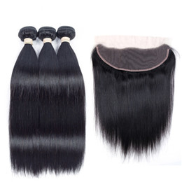Wholesale Hair Extensions Wholesale India - Lace Frontal with Bundles Straight Virgin Hair Body Wave Bundles with Closure Brazilian Peruvian India Malaysian Virgin Human Hair Extension