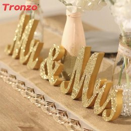 Wholesale black wooden letters - Tronzo Wedding Table Centerpiece Decoration Golden Glitter Mr &Mrs Wooden Letter Wedding Marriage Photo Booth Prop Party Favors