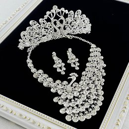 Wholesale Tiaras End Crowns - Crystal diamond Korean bride jewelry wedding necklace earrings three-piece crown tiara wedding dress high - end
