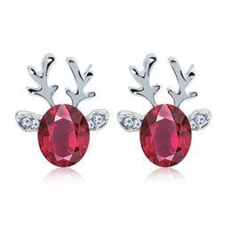 Rosa renna online-Orecchini di cristallo di renna di cristallo Blu rosa bianco rosso strass corno orecchini a bottone Tridimensionali regalo di Natale gioielli con borchie