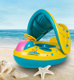 Wholesale boat rings - Children Blue Swimming Boat Sitting Ring Inflated And Thickened With Sunshade Baby Swimming Rings