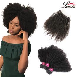 2019 cheveux indiens frisés Charmanten indien Afro Kinky Curly Extension de cheveux afro crépus cheveux vierges avec la partie libre 4 * 4 de fermeture Fermeture indien afro crépus de cheveux humains cheveux indiens frisés pas cher