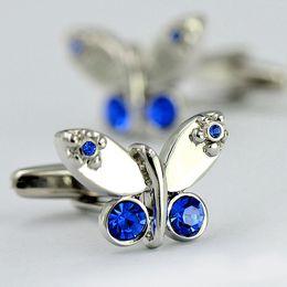 Canada Femme \ mujer élégant délicat animal argent plaque papillon bleu cristal manchette boutons diamant brillant boutons de manchette de luxe pour la tante \ Femmes \ Vrouwen Offre