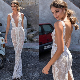Wholesale Thigh Length Wedding Dresses - Berta Full Lace Wedding Dresses Backless Deep V-neck Illusion Bodice Wedding Dress Floor Length Custom Made Bridal Gowns