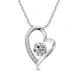 Wholesale Swarovski Charm Love - DHL Austrian Crystal Diamonds Love Heart Pendant Statement Necklace Rhinestone Fashion Class Women Girls Lady Swarovski Elements Jewelry