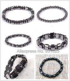 2019 магнитный цилиндр Wholesales Magnetic Hematite Cylinder Flat Round  Elastic Bracelet Fashion Black Hematite Healthy Jewelry Magnet Bracelets дешево магнитный цилиндр
