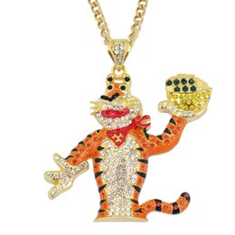 Wholesale tiger necklace men - Men 2 Colors Bling Bling Iced Out Large Size Cartoon Tiger pendant Hip hop Necklace Jewelry 30inch Link chain