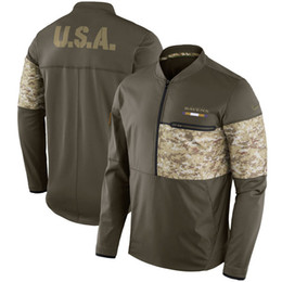 Wholesale Camping England - Men Women Youth New New Orleans England Yok Minnesota Miami Los Angeles Salute to Service Sideline Hybrid Half-Zip Pullover Jacket Olive