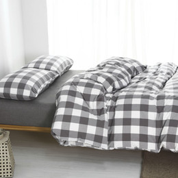 Wholesale King Size Comforters Sale - plaid washed cotton twin bedding sets king size duvet cover bedroom 1.8m bed cover 4 piece set for sale free shipping