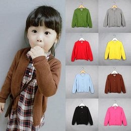 Wholesale Childrens Sweaters Knitted - Knit Cardigans for Boys Girls 2017 New Casual Spring Autumn Kids Sweaters Long Sleeve Toddlers Childrens Outerwear 1 2 3 4 5 6 Y