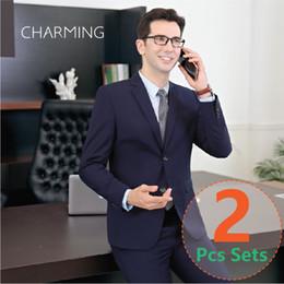 Wholesale tweed wool suits for men - men's suits Suitable for business suits for men Formal jackets mens Designer mens suits High Quality Fabric Suit 2pcs Set (jacket + pants)