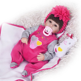 Wholesale Silicone Dolls For Sale - 18 Inch Soft Silicone Reborn Dolls Realistic Newborn Baby Girl For Sale Lifelike Baby Alive Dolls Kids Playmate