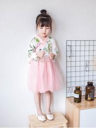 Wholesale Girls Dresses Wholesale China - 2018 Spring New Girls Dresses China Style gauze Long Sleeve Dresses Children Clothing 2-7Y 20789