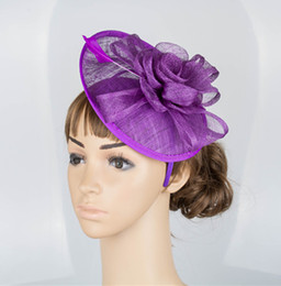 Wholesale Fascinator Gold - 17 colors generous kentucky sinamay material fascinator hair accessories race headpiece church hats suit for all season MYQ028