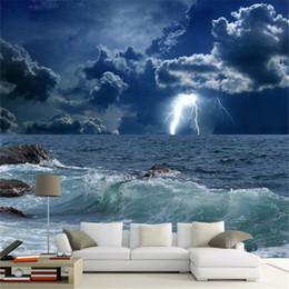 Wholesale Vintage Fiberglass - Custom Photo Wallpaper 3D Ocean Waves Lightning Dark Cloud Landscape Mural Wallpaper Living Room Bedroom Papel De Parede 3D