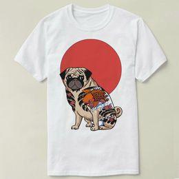 Wholesale Pug T Shirt Xl - Yakuza pug t shirt Japan dog short sleeve gown Leisure tees Unisex clothing Quality cotton fabric Tshirt
