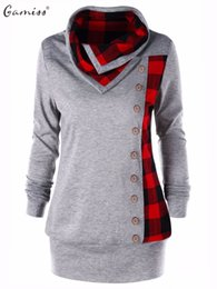 Wholesale Plaid Turtleneck - Gamiss Women Single Breasted Sweatshirts Plus Size Plaid Cowl Neck Hoodies Autumn Button Embellished Women Sudaderas Outwear