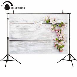 2019 bordo di sfondo all'ingrosso sfondi per studio fotografico primavera Cherry blossoms vintage wood board backdrop baby shower compleanno photocall bordo di sfondo economici