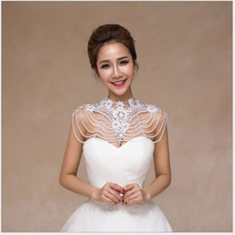 Wholesale Ivory Ornament - The bride's new shoulder chain, Korean shoulder ornament, wedding dress white necklace with a word of shoulder lace and Pearl shawl.