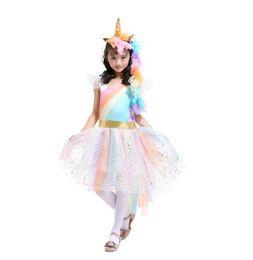 Wholesale dress winter autumn girl - Girls Dress Unicorn Rainbow Dress Unicorn Headband + Angel Wings +Lace Tutu Girls Princess Dress 3 Pieces Suits Cosplay Clothing Sets