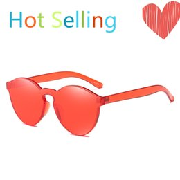 Wholesale sun candy - New One Piece Lens Sunglasses Women Transparent Plastic Glasses Men Round Style Sun Glasses Polarized Clear Candy Color Brand Designer
