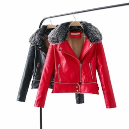 10d85b97684 2019 Hot Winter Women Warm Slim Fit Faux Fur Leather Coats Jackets Lady  Thicken Fake Lamb Wool Matte Fleece Outerwear Black Red