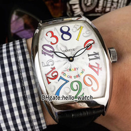 Wholesale ch sports - Brand New CRAZY HOURS COLOR DREAMS White Dial 8880 CH Automatic Mens Watch Silver Case Leather Strap Cheap 8Style Luxury Sport Wristwatches