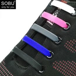 Wholesale silicone shoelaces - 16pcs lot Shoelaces Novelty No Tie Shoelaces Unisex Elastic Silicone Shoe Laces For Men Women All Sneakers Fit Strap N067