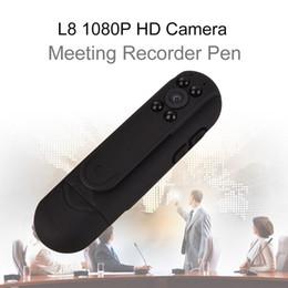 Wholesale Pen Infrared - Blueskysea L8 1080P HD Infrared Night Vision Camera Meeting Pen Mini Digital Video Recorder 2400mAh 12MP CMOS Free shipping