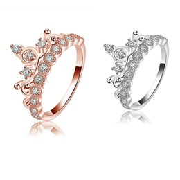 Wholesale ring elements - Hot Sale Korean Queen Rose Gold Crown Ring Women Zircon Cute Beautiful Wedding Party Jewelry Compatible With Pandora Element Wholesale
