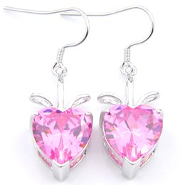 pink gemstones earrings Coupons - 10 Pair Luckyshine Holiday Gift Women Heart Earring Cubic Zirconia Gemstone Silver Pink Charm for Wedding Dangle Earrings