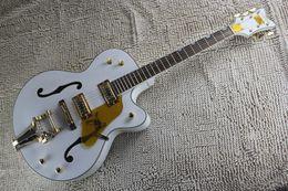 Wholesale Guitar Korean - Factory Custom THE WHITE FALCON 6120 Semi Hollow Body Jazz Korean Tuners Electric Guitar With Tremolo