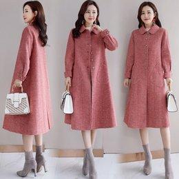 2019 casaco modelo feminino Casaco de lã modelos femininos seção longa versão coreana 2018 novo casaco de lã casaco modelo feminino barato