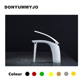 Wholesale Finished Bathrooms - New Hot sell Brass Baking finish bathroom basin Faucet   Fashion 12 Colors Hot and Cold Water Mixer Tap   Black&White&Red