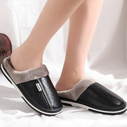 winter home slippers for men Coupons - Slippers for man big size 40-50 warm winter home slippers 2018 fashion leather indoors shoes men short plus