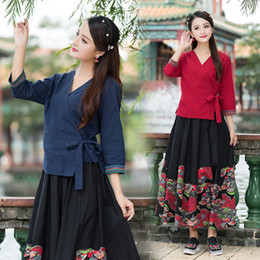 Wholesale Hanfu Clothes - 2018 new Hanfu cross collar coat short dress embroidered in the wind Zen clothing piece jacket