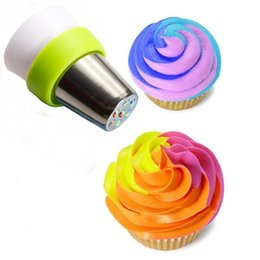 Wholesale Cake Decorating Coupler - Wholesale- Russian Nozzles Converter Coupler Pastry Tulip 3-Color Icing Piping Cake Cupcake Cream Decorating Tips Kitchen DIY Tool 1Pc